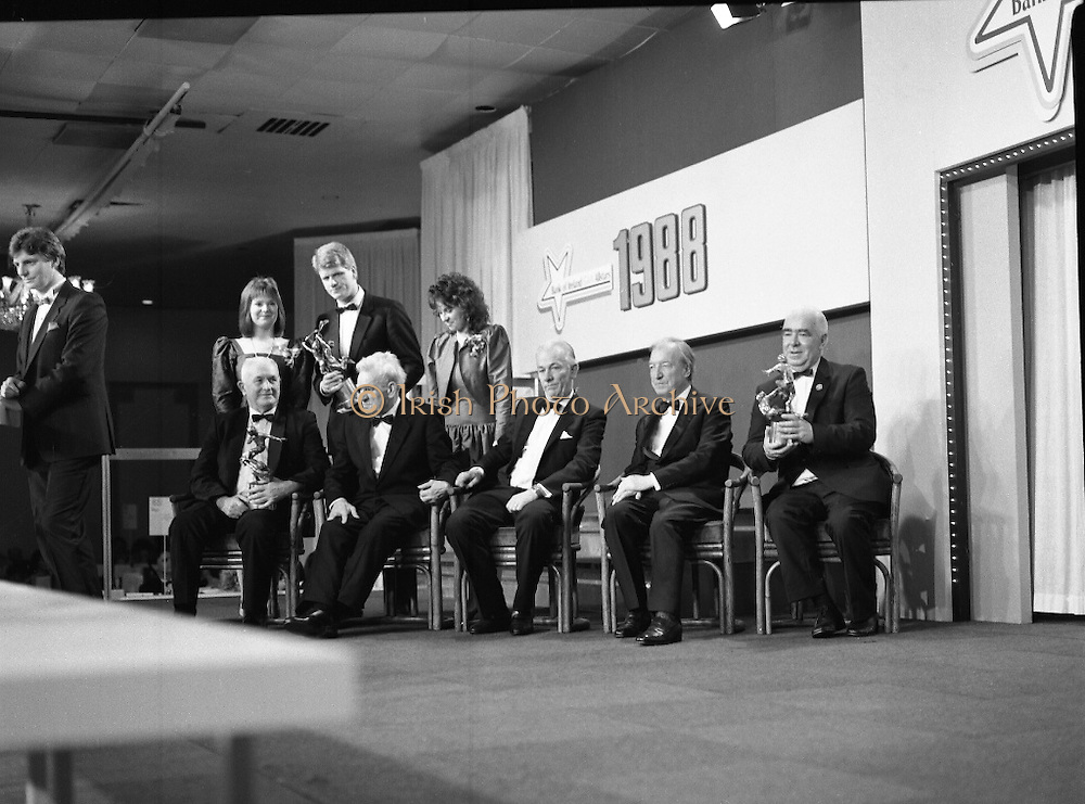 "B.O.I. GAA Allstars  (R96)..1989..03.02.1989..02.03.1989..3rd February 1989..The Awardsfor the B.O.I.Allstars were held tonight in the Burlington Hotel,Dublin. The list of the winnersis as follows..1989 - HURLING ALL STARS J. Commins (Galway), A. Fogarty (Offaly), E. Cleary (Wexford), D. Donnelly (Antrim), Conal Bonnar (Tipperary), B. Ryan (Tipperary), S. Treacy (Galway), M. Coleman (Galway), D. Carr (Tipperary), E. Ryan (Galway), Joe Cooney (Galway), O. McFetridge (Antrim), P Fox (Tipperary), Cormac Bonnar (Tipperary), N. English (Tipperary)."" 1989 - FOOTBALL ALL STARS Gabriel Irwin (Mayo), Jimmy Browne (Mayo), Gerry Hargan (Dublin), Dermot Flanagan (Mayo); Connie Murphy (Kerry), Conor Counihan (Cork), Anthony Davis (Cork); Teddy McCarthy (Cork), Willie Joe Padden (Mayo); Dave Barry (Cork) Larry Tompkins (Cork), Noel Durkin (Mayo); Paul McGrath (Cork), Eugene McKenna (Tyrone), Tony McManus (Roscommon).""..Picture shows (L-R) Kevin Armstrong, Alltime football, Paddy Collins, Alltime hurling, Frank O'Rourke, Deputy Chief Executive,Bank of Ireland, An Taoiseach, Charles Haughey and John Dowling, President of the GAA at the award ceremony."