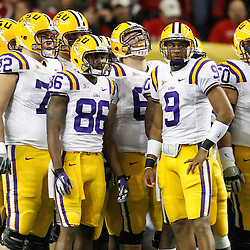 Dec 3, 2011; Atlanta, GA, USA; LSU Tigers quarterback Jordan Jefferson (9) in the huddle during the first half of the 2011 SEC championship game Georgia Bulldogs at the Georgia Dome.  Mandatory Credit: Derick E. Hingle-US PRESSWIRE