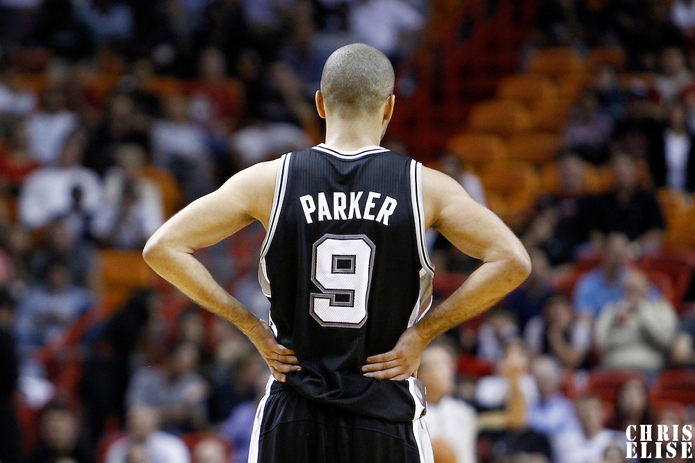 17 January 2012: San Antonio Spurs point guard Tony Parker (9) rests during the Miami Heat 120-98 victory over the San Antonio Spurs at the AmericanAirlines Arena, Miami, Florida, USA.