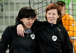 Ljudmila Bodnieva and Sergeja Stefanisin of Krim celebrate after the handball match between RK Krim Mercator and Larvik HK (NOR) of Women's EHF Champions League 2011/2012, on November 13, 2011 in Arena Stozice, Ljubljana, Slovenia. Larvik defeated Krim 22-19 but both teams qualified to new round. (Photo By Vid Ponikvar / Sportida.com)
