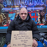 David Davis a former soldier, now a homeless man on the streets of Glasgow during the festive period. <br /> <br /> Picture Robert Perry 1st Dec 2017<br /> <br /> Must credit photo to Robert Perry<br /> FEE PAYABLE FOR REPRO USE<br /> FEE PAYABLE FOR ALL INTERNET USE<br /> www.robertperry.co.uk<br /> NB -This image is not to be distributed without the prior consent of the copyright holder.<br /> in using this image you agree to abide by terms and conditions as stated in this caption.<br /> All monies payable to Robert Perry<br /> <br /> (PLEASE DO NOT REMOVE THIS CAPTION)<br /> This image is intended for Editorial use (e.g. news). Any commercial or promotional use requires additional clearance. <br /> Copyright 2014 All rights protected.<br /> first use only<br /> contact details<br /> Robert Perry     <br /> 07702 631 477<br /> robertperryphotos@gmail.com<br /> no internet usage without prior consent.         <br /> Robert Perry reserves the right to pursue unauthorised use of this image . If you violate my intellectual property you may be liable for  damages, loss of income, and profits you derive from the use of this image.