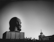 Monolithic Lenin looks out over Ploshchad Sovietov, Ulan Ude, Buryatia, Russian Far East.