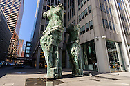 """Jim Dine's """"Looking Toward the Avenue"""" sculptures , 1301 Avenue of the Americas, Manhattan, New York City, New York, USA"""