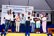 Panerai Luminor Marina watch trophy for Janley at the Antigua Classic Yacht Regatta awards ceremony.