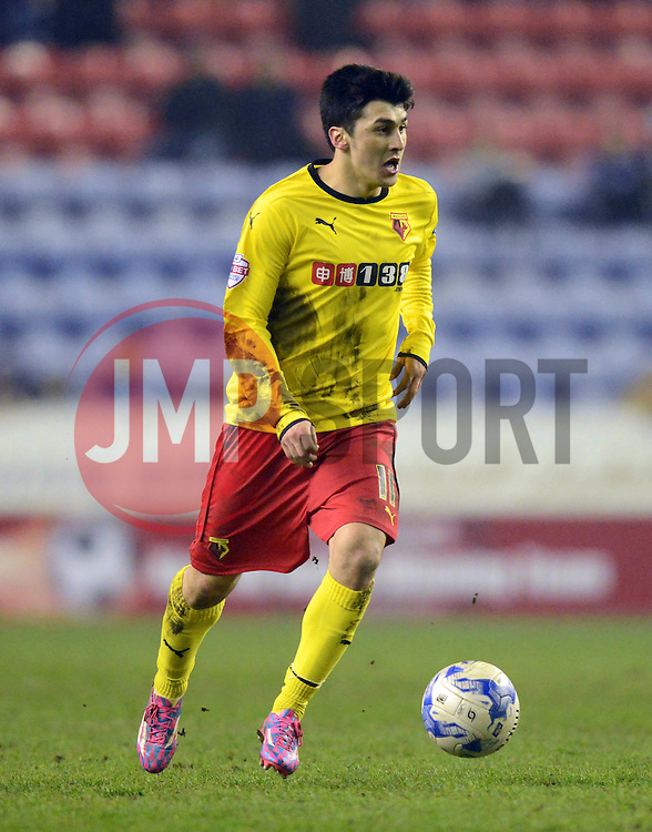 Watford's Fernando Forestieri in action - Photo mandatory by-line: Richard Martin-Roberts/JMP - Mobile: 07966 386802 - 17/03/2015 - SPORT - Football - Wigan - DW Stadium - Wigan Athletic  v Watford - Sky Bet Championship