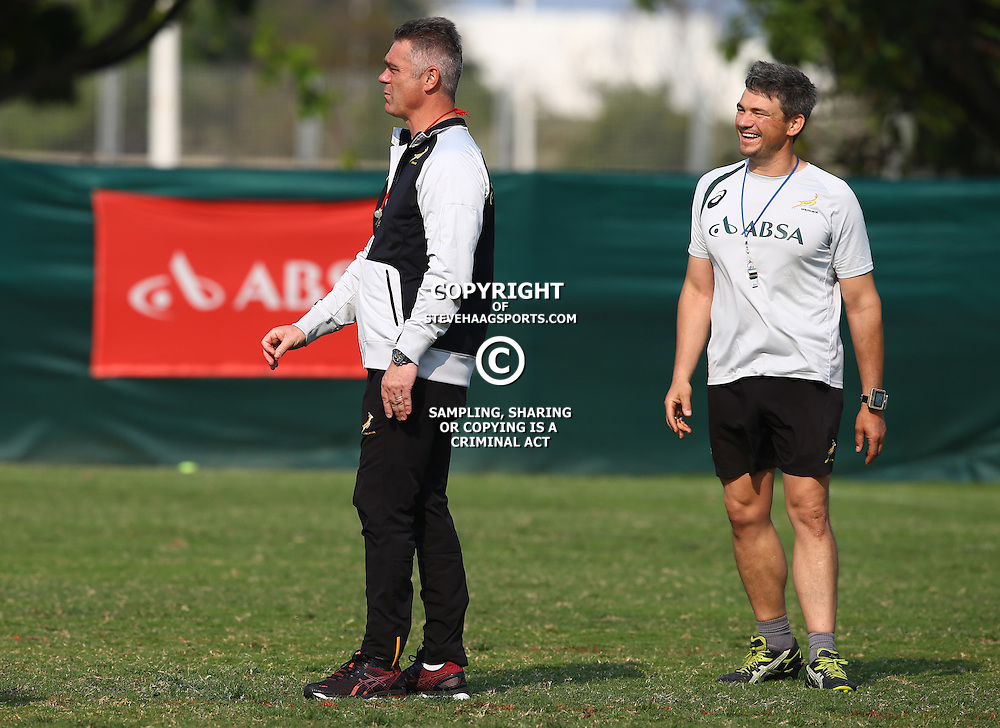 DURBAN, SOUTH AFRICA - AUGUST 25: Heyneke Meyer (Head Coach) of South Africa with Basil Carzis (Conditioning Coach) of South Africa during the South African national rugby team training session at Moses Mabhida Outer Fields on August 25, 2015 in Durban, South Africa. (Photo by Steve Haag/Gallo Images)