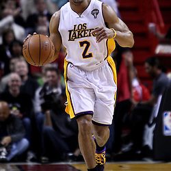 March 10, 2011; Miami, FL, USA; Los Angeles Lakers point guard Derek Fisher (2) against the Miami Heat during the first quarter at the American Airlines Arena.  Mandatory Credit: Derick E. Hingle