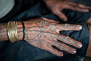 Mentawai indigenous woman tattooed hand (Indonesia).