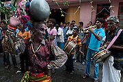 Kavadi dancer at a small street festival off Jampettah Street in Colombo 13.