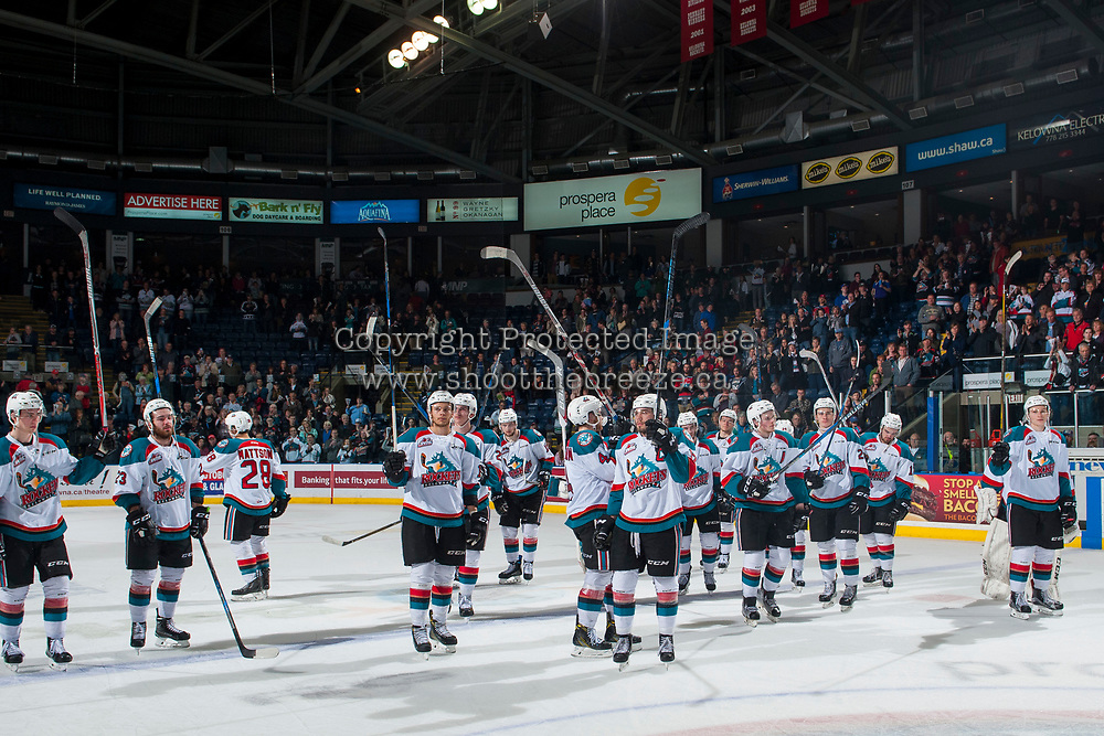 KELOWNA, CANADA - APRIL 30: The Kelowna Rockets salute fans on the end of the season after a game 6 loss to the Seattle Thunderbirds on April 30, 2017 at Prospera Place in Kelowna, British Columbia, Canada.  (Photo by Marissa Baecker/Shoot the Breeze)  *** Local Caption ***