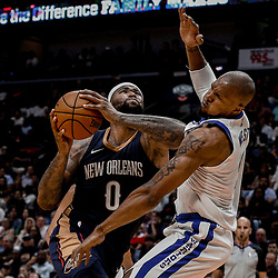 Oct 20, 2017; New Orleans, LA, USA; Golden State Warriors forward David West (3) draws an offensive foul from New Orleans Pelicans forward DeMarcus Cousins (0) during the second half of a game at the Smoothie King Center. The Warriors defeated the Pelicans 128-120.  Mandatory Credit: Derick E. Hingle-USA TODAY Sports