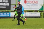 Forest Green Rovers manager, Mark Cooper applauds the fans at the end of the match during the Vanarama National League match between Forest Green Rovers and Barrow at the New Lawn, Forest Green, United Kingdom on 1 October 2016. Photo by Shane Healey.