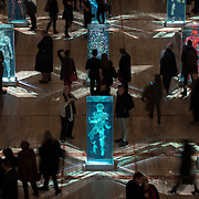 February 12, 2015 - New York, NY : Patrons of the New York City Ballet view artist Dustin Yellin's 'Psychogeographies,' a set of 15 sculptural collages/paintings in the David H. Koch Theater at Lincoln Center on Thursday evening. Yellin made the works for New York City Ballet's 2015 Art Series. CREDIT: Karsten Moran for The New York Times