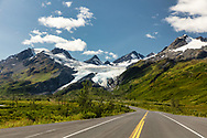 Scenic view of Worthington Glacier along Richardson Highway in Southcentral Alaska. Summer. Afternoon.