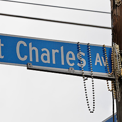 February 21, 2012; New Orleans, LA, USA; Beads hang from a street sign along the  uptown New Orleans St. Charles Avenue parade as the Krewe of Zulu parade rolled on Mardi Gras day. Mardi Gras is an annual celebration that ends at midnight with the start of the Catholic Lenten season which begins with Ash Wednesday and ends with Easter. Photo by: Derick E. Hingle