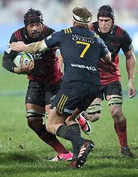 Crusaders Jordan Taufua, left, looks to beat Highlanders James Lentjes in the Super Rugby quarter final match, AMI Stadium, Christchurch, New Zealand, July 22 2017.  Credit:SNPA / Adam Binns ** NO ARCHIVING**