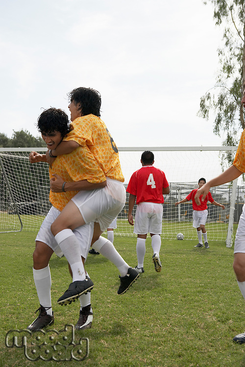 Soccer Players Celebrating a Goal