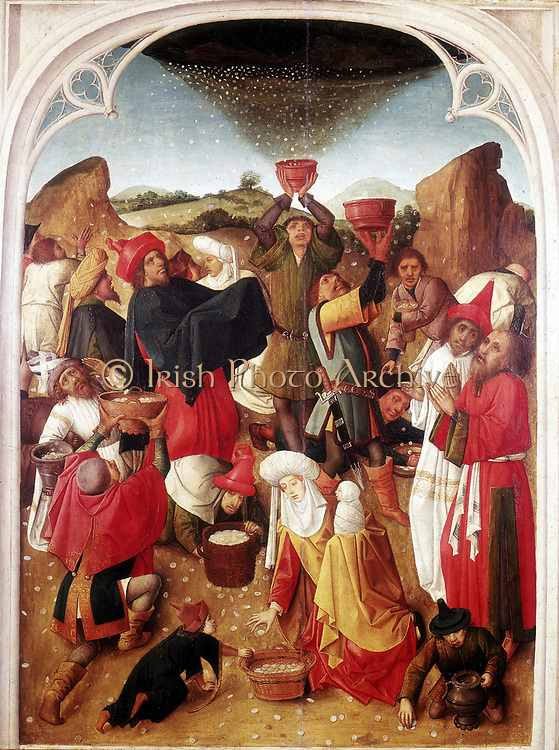 Manna'. Israelites in the wilderness receiving manna from heaven.  Dutch School painting by the Master of the Manna (15th century).
