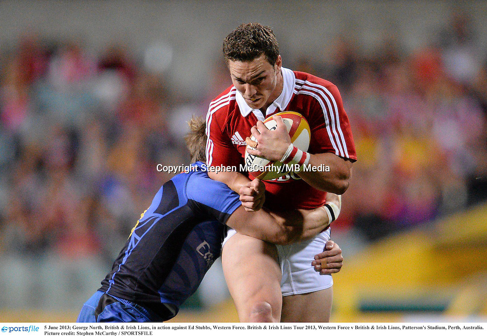 5 June 2013; George North, British & Irish Lions, in action against Ed Stubbs, Western Force. British & Irish Lions Tour 2013, Western Force v British & Irish Lions, Patterson's Stadium, Perth, Australia. Picture credit: Stephen McCarthy / SPORTSFILE
