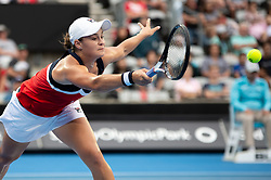 January 10, 2019 - Sydney, Australia - Ashleigh Barty (AUS) reaches for the ball at The Sydney International Tennis in the game between Ashleigh Barty (AUS) and Elise Mertens (BEL) on January 10, 2018, at Sydney Olympic Park Tennis Centre in Homebush, Australia. (Credit Image: © Steven Markham/Icon SMI via ZUMA Press)