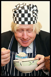 Mayor of London Boris Johnson wears a chef's hat and apron to launch London's Biggest Breakfast fundraising event at City Hall on Thursday, 12th September 2013, hosted by The Mayor's Fund for London and Magic 105.4's Cash For Kids. Picture by Stephen Lock / i-Images