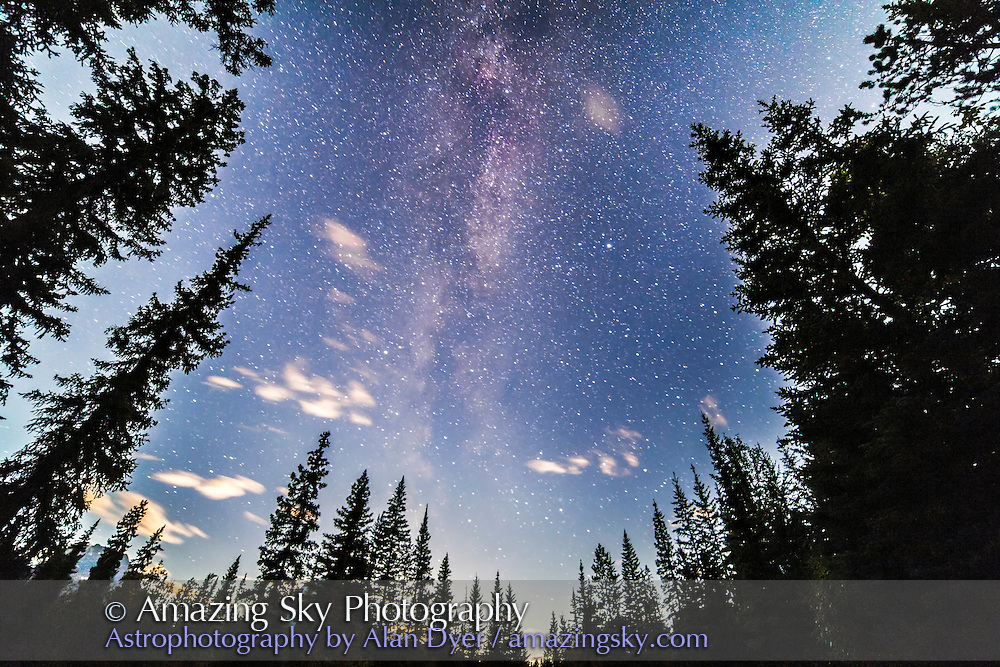 The Summer Triangle area of the Milky Way as shot at the Athabasca Falls area in Jasper National Park. The Moon was just setting at bottom, brightening the sky. This is a single exposure with the 14mm Rokinon lens at f/2.8 and Canon 5D MkII at IS 3200 for 1 minute.