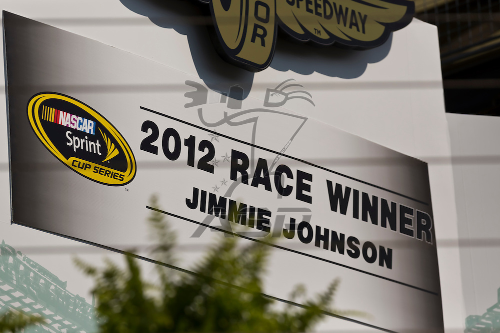 INDIANPOLIS, IN - JUL 29, 2012:  For the fourth time in his career, Jimmie Johnson (48) wins tthe Curtiss Shaver 400 presented by Crown Royal at the Indianapolis Motor Speedway in Indianapolis, IN.