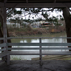 Gazebo Overlooking River, Snohomish, Washington, US