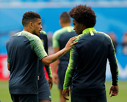 June 21, 2018 - Saint Petersburg, Russia - Taison (L) and Willian during a Brazil national team training session during the FIFA World Cup 2018 on June 21, 2018 at Saint Petersburg Stadium in Saint Petersburg, Russia. (Credit Image: © Mike Kireev/NurPhoto via ZUMA Press)