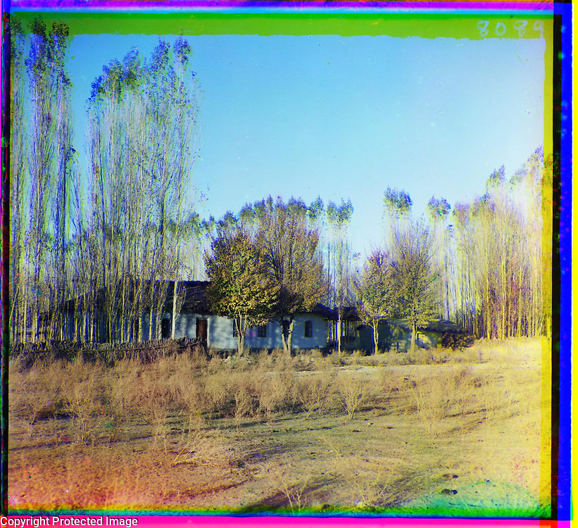 1905<br /> This photograph depicts a family farmstead in Nadezhdinsk, a Russian settlement in present-day eastern Kazakhstan. As seen in the picture and as suggested by its name, Golodnaia (or Hungry) Steppe, this region was not particularly suitable for farming. Nonetheless, between 1906 and 1912, more than half a million Russian peasants moved to Kazakhstan, prompted by the agrarian reforms introduced by Petr Stolypin, chairman of the council of ministers of the Russian government. Stolypin&rsquo;s reforms were in part aimed at creating a class of market-oriented, smallholding landowners. The image is by Russian photographer Sergei Mikhailovich Prokudin-Gorskii (1863&ndash;1944), who used a special color photography process to create a visual record of the Russian Empire in the early 20th century. Some of Prokudin-Gorskii&rsquo;s photographs date from about 1905, but the bulk of his work is from between 1909 and 1915, when, with the support of Tsar Nicholas II and the Ministry of Transportation, he undertook extended trips through many different parts of the empire. Prokudin-Gorskii was interested in recently acquired territories of the Russian Empire such as Turkestan (present-day Kazakhstan, Turkmenistan, and Uzbekistan), which he visited on a number of occasions, including two trips in 1911. He documented the traditional architecture and culture of the region as well as economic development projects sponsored by the Russian authorities.