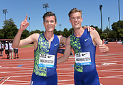Jun 30, 2019; Stanford, CA, USA; Filip Ingebrigtsen (right) and brother Jakob Ingebrigtsen (NOR) pose after placing third and fourth in the Bowerman  Mile in 3:51.28 and 3:51.30 during the 45th Prefontaine Classic at Cobb Track & Angell Field.