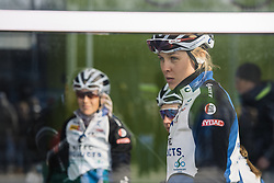 Julie Leth stays out of the cold until the last possible moment before the start - 2016 Omloop het Nieuwsblad - Elite Women, a 124km road race from Vlaams Wielercentrum Eddy Merckx to Ghent on February 27, 2016 in East Flanders, Belgium.