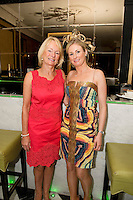 Catherine and Elizabeth Burke from Salthill at the Best Dressed Competition at Hotel Meyrick on Ladies Day of the Galway Races, sponsored by Brown Thomas Galway, hosted by RTE's  Republic of Telly Star Jennifer Maguire. Photo:Andrew Downes. Photo issued with Compliments, no reproduction fee on first publication.