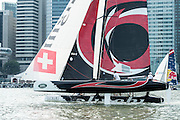 Alinghi in practice races for the first of the Extreme Sailing Series regattas being sailed in Singapore. 19/2/2014