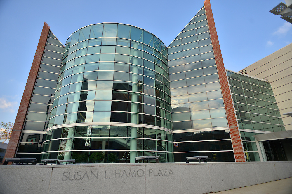 The John S. Knight Center overlooking Susan L. Hamo Plaza.
