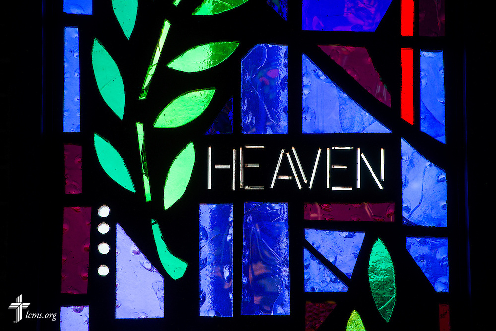 "Stained glass with the word ""Heaven"" on Sunday, Nov. 22, 2015, at Salem Lutheran Church in Springdale, Ark. LCMS Communications/Erik M. Lunsford"