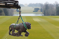 The Lions being installed at Stowe House Buckinghamshire