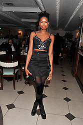 TOLULA ADEYEMI at a party hosted by TopShop to celebrate 10 years of NEWGEN and 10 years of supporting Brtish Fashion held at Le Baron, 29 Old Burlington Street, London W1 on 21st February 2012.