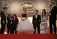 Colin Farrell, Ed Guiney, Sunny Suljic, Nicole Kidman, Barry Keoghan, Raffey Cassidy and Yorgos Lanthimos at The Killing of a Sacred Deer gala screening at the 70th Cannes Film Festival Monday 22nd May 2017, Cannes, France. Photo credit: Doreen Kennedy