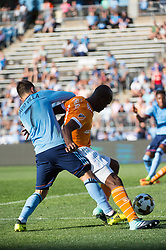 September 23, 2017 - East Hartford, Connecticut, U.S - New York City FC forward DAVID VILLA (7) fights for the ball during a game at Pratt & Whitney Stadium at Rentschler Field, East Hartford, CT.  New York City FC draw with the Houston Dynamo 1 to 1 (Credit Image: © Mark Smith via ZUMA Wire)