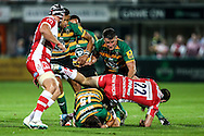 Calum Clark of Northampton Saints leading the charge during the Aviva Premiership match at Franklin's Gardens, Northampton<br /> Picture by Andy Kearns/Focus Images Ltd 0781 864 4264<br /> 05/09/2014