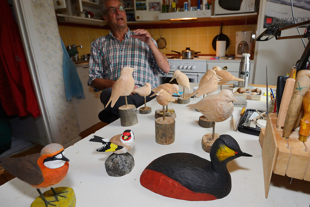 Kjell Wågberg, bird sculptor, Jokkmokk, Greater Laponia rewilding area, Lapland, Norrbotten, Sweden