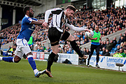 Notts County defender Matt Tootle (2) clears this attack during the EFL Sky Bet League 2 match between Chesterfield and Notts County at the Proact stadium, Chesterfield, England on 25 March 2018. Picture by Nigel Cole.