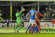 Ryan Clarke (31) of Eastleigh makes a save from Luke Norris (33) of Swindon Town which looked very close to being a goal on the tv replay during the The FA Cup match between Eastleigh and Swindon Town at Arena Stadium, Eastleigh, United Kingdom on 4 November 2016. Photo by Graham Hunt.