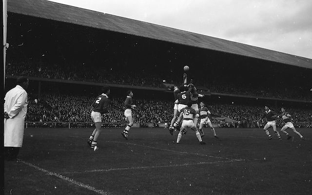 Cork defenders jump for a high ball near their own goalmouth during the All Ireland Minor Gaelic Football Final Cork v. Laois in Croke Park on the 24th September 1967.