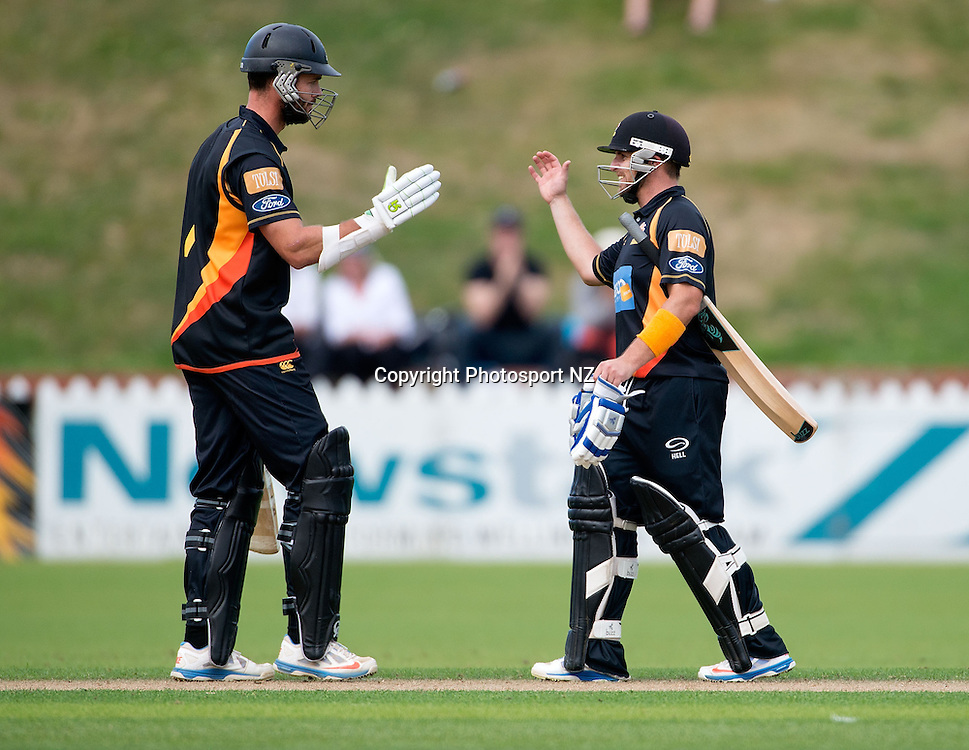 James Franklin (L) captain of Wellington with team mate Michael Papps celebrate winning the game during the Ford Trophy One Day cricket match between the Wellington Firebirds and Central Districts at the Basin Reserve in Wellington on Sunday the 23rd March 2014.  Photo by Marty Melville/Photosport.co.nz