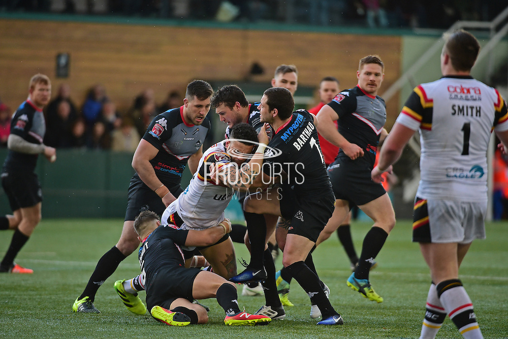 London Broncos scrum half William Barthau (7) tackles Bradford Bulls second row Kevin Larroyer (16) during the Kingstone Press Championship match between London Broncos and Bradford Bulls at Trailfinders Sports Club, Vallis Way, United Kingdom on 5 March 2017. Photo by Jon Bromley.