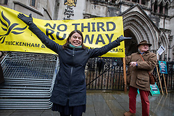 © Licensed to London News Pictures. 27/02/2020. London, UK. MP for Richmond Park, Sara Olney who beat Zac Goldsmith in the last general election, celebrates at the Hight Court London as Heathrow's third runway is blocked by the Court of Appeal on environmental grounds. Photo credit: Alex Lentati/LNP