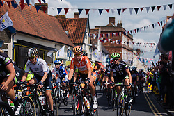 Nikki Haris (Boels Dolmans) and Molly Weaver (Liv Plantur) speeding through bunting decked villages of Norfolk at Aviva Women's Tour 2016 - Stage 1. A 138.5 km road race from Southwold to Norwich, UK on June 15th 2016.