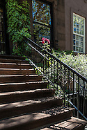 Steps at a brownstone on the upper eastside of Manhattan, New York City.